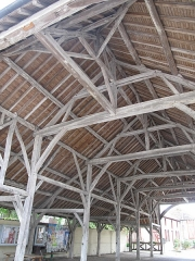 Halle - English: Carpentry of the market hall of Lesmont (Aube, France).