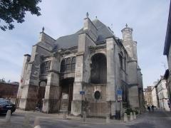 Eglise Saint-Nicolas - Français:   Église Saint-Nicolas de Troyes (Aube, Champagne, France) le portail occidental et la façade sud.