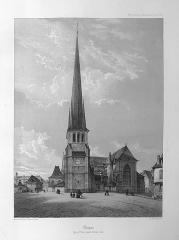 Eglise Saint-Rémy - English:   Old view of Saint-Rémy church (19th century), before the nartex\'s destruction.