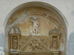 Eglise - English: Doux (Ardennes) église, tympan sculpté