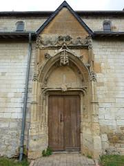 Eglise Saint-Crépin Saint-Crépinien - English: Saulces-Champenoises (Ardennes) église, portail sculpté