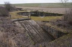 """Plate-forme d'artillerie - English:  Emplacement """"Langer Max"""", western ammunition elevator – platform – eastern ammunition elevator; Semide, Ardennes, France."""