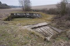 """Plate-forme d'artillerie - English:  Emplacement """"Langer Max"""", eastern ammunition elevator – platform – western ammunition elevator; Semide, Ardennes, France."""