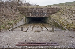 """Plate-forme d'artillerie - English:  Emplacement """"Langer Max"""", eastern ammunition elevator; Semide, Ardennes, France."""