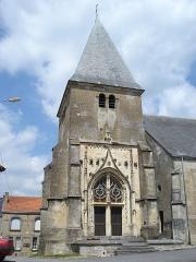 Eglise - English: Voncq (Ardennes) église, porche et tour