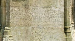 Eglise Notre-Dame - English: Inscription at the portal of Basilica Notre-Dame de l'Épine, France (not yet listed in the Base Palissy. For the position of the inscription see the annotation in the image of the main portal below.