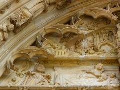 Eglise Notre-Dame - Français:   Portail central de la basilique Notre-Dame de l\'Épine (51). Tympan. Nativité.