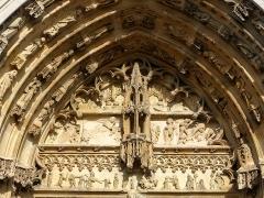 Eglise Notre-Dame - Tympan du portail central de la façade occidentale de la basilique Notre-Dame à l'Épine (51).