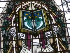 Bibliothèque Carnégie - Français:   Bibliothèque Carnegie de Reims (Marne, France): détail du vitrail de Jacques Grüber ornant le plafond de la salle de lecture