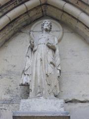 Eglise Saint-Jacques - Église Saint-Jacques de Reims (Marne, France), statue au-dessus du portail central
