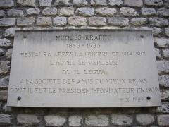 Hôtel Le Vergeur - Musée-hôtel Le Vergeur, à Reims (Marne, France), plaque à Hugue Krafft