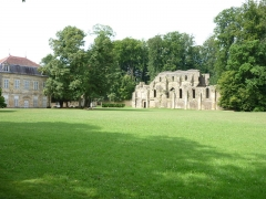 Abbaye - English: Trois Fontaines Abbey-church (ruin) and Kouis_XV-building