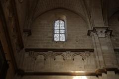 Cathédrale Saint-Mammes - Intérieur de la cathédrale Saint-Mammès de Langres (52). Élévation du transept sud. Faux triforium et fenêtre haute.