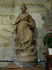 Eglise Sainte-Colombe - Français:   Statue en terre cuite du 19ème siècle dans l\'église Sainte-Colombe de Chevilly-Larue, représentant Sainte-Geneviève