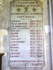 Eglise Saint-Germain - English: Église Saint-Germain de Pantin, plaquette curés XIXème