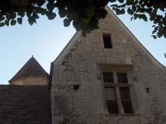 Manoir -  Détails de la ferme de Bertheuil à Nesles-la-Vallée (Val-d'Oise): fenêtre à meneau de la Renaissance et toit en poivrière de la tour d'escalier