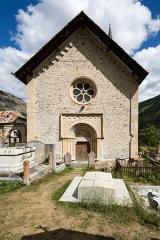 Eglise - Français:   Façade de l\'église Saint-Pierre-et-Saint-Paul de Saint-Paul-sur-Ubaye (France).