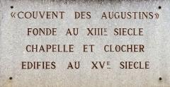 Couvent des Augustins - Français:   Plaque du couvent des Augustins à Aix en Provence (Bouches du Rhône, France).