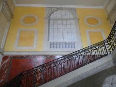 Archevêché - Arles (Bouches-du-Rhône, France), à l'est de la place de la République, palais archiépiscopal, montée d'escalier monumentale, avec fresque trompe-l'oœil.