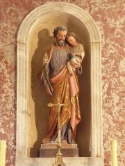 Eglise de la Major - Arles (Bouches-du-Rhône, France), intérieur de l'église Notre-Dame-la-Major, chapelle St Joseph , statue polychrome d'icelui.