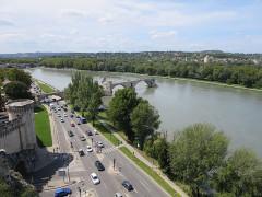 Chapelle et pont Saint-Bénézet - Deutsch: Avignon, Blick vom Rocher des Doms auf die Pont Saint-Bénezet
