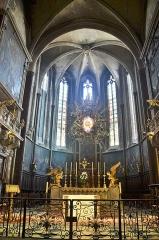 Eglise Saint-Siffrein, ou ancienne cathédrale - Français:   Cathédrale Saint Siffrein: maître autel et son tabernacle avec deux anges adorateurs en bois doré, surmontés d\'une gloire; tous ces éléments, sculptés par Jacques Bernus et classés en tant qu\'objets monuments historiques.