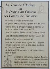 Tour de l'Horloge, dit aussi ancien château des comtes de Toulouse - Français:   Panneaux explicatif de la tour de l\'Horloge de Pernes-les-Fontaines (Vaucluse, France).