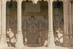 """Eglise Saint-Barthélémy de Salles -  """"Seat"""" of the Abbot in cloister of the Abbey of Cadouin."""