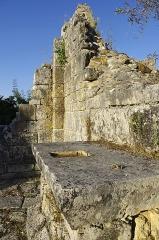 Ruines de l'ancienne chapelle de Fontroubade, appelée église Notre-Dame puis Sainte-Radegonde - Français:   Pan de mur et le dessus de l\'autel de l\'ancienne chapelle du lieu-dit Fontroubade, commune de Lussas et Nontronneau, Dordogne, France.