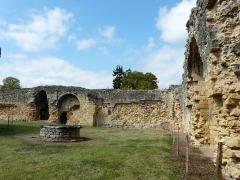 Ruines du château-fort - Français:   Les vestiges de l\'enceinte ouest (en face) et nord (à droite) du château fort de Molières, Dordogne, France.