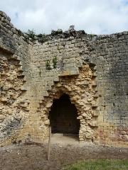 Ruines du château-fort - Français:   Les vestiges de la tour d\'angle nord-ouest du château fort de Molières, Dordogne, France.