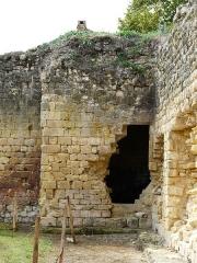 Ruines du château-fort - Français:   Les vestiges de la tour d\'angle sud-ouest du château fort de Molières, Dordogne, France.