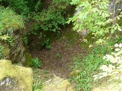 Gisement préhistorique du Ruth ou Abri Pagès - Français:   La partie inférieure du gisement préhistorique du Ruth, vue depuis le niveau supérieur, Tursac, Dordogne, France.