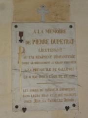 Eglise Notre-Dame - English: Bayon-sur-Gironde, Église Notre-Dame, plaquette memorial de guerre