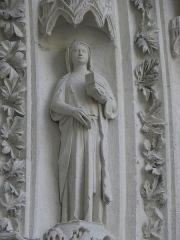 Cathédrale Saint-André - Portail royal de la cathédrale Saint-André de Bordeaux (33). 3ème voussure. Vierges et séraphins (de gauche à droite).