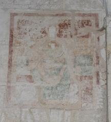 Eglise collégiale Saint-Emilion - Français:   Fresques dans la collégiale de Saint-Émilion, Gironde, Aquitaine, France. Vierge à l\'Enfant.