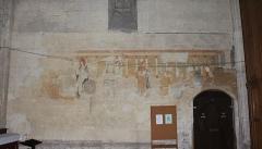 Eglise collégiale Saint-Emilion - Français:   Fresques dans le transept sud de la collégiale de Saint-Émilion, Gironde, Aquitaine, France.