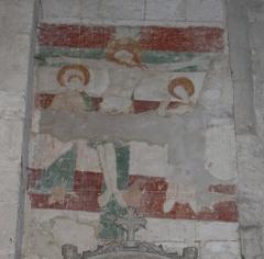 Eglise collégiale Saint-Emilion - Français:   Fresques dans la collégiale de Saint-Émilion, Gironde, Aquitaine, France. La Cruxifiction.