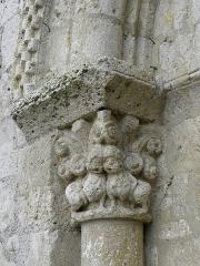 Eglise Sainte-Marie - Église Sainte-Marie d'Aubiac (47). Chapiteau gauche du portail occidental.