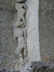 Eglise Saint-Sardos de Laurunque - Français:   Église Saint-Sardos de Laurenque, commune de Gavaudun (47).  Frise du portail occidental. Lions.