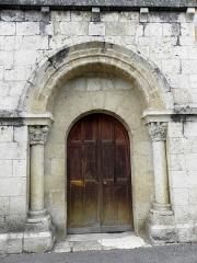 Eglise Saint-Martin - Façade sud de l'église Saint-Martin de Layrac (47). Porte du croisillon.