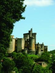 Château de Bonaguil - Nederlands: De bouw van het kasteel van Bonaguil - Saint-Front-sur-Lémance (maar eigendom van de gemeente Fumel), Lot-et-Garonne, Aquitanië - begon begin XIIIe eeuw. Eind XVe en aanvang XVIe eeuw werd het verbouwd, waarbij alle militair-defensieve verbeteringen werden toegevoegd die toen golden - alhoewel de sterkte geen strategische functie had. Het werd ook nooit belegerd, zodat het in relatief goede staat bleef. Het château fort werd bewoond tot aan de Franse Revolutie.