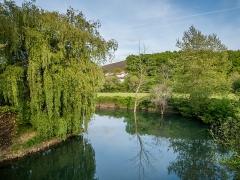 Pont sur la Nivelle dit Pont Romain - Español: Vistas desde el puente romano de Ascain, País Vasco, Francia; el río Nivelle y un sauce a la izquierda
