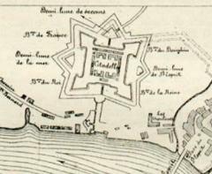 Citadelle - English: Plan de Bayonne par Vauban en 1680: Détail de la Citadelle de Bayonne (Inscrit)