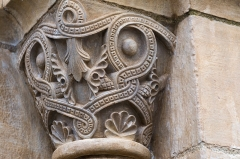 Eglise Saint-Blaise - English:  Front applied capital of the doorway of the Church of St. Blaise.