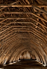 Eglise Saint-Girons - Français:   La charpente en bois de cœur de chêne de l\'église Saint-Girons à Monein, dans les Pyrénées-Atlantiques, en France construite par les cagots.
