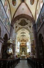 Abbaye -  Alsace, Bas-Rhin, Altorf, Église Saint-Cyriaque (PA00084581, IA67011108, IA67011107): Vue intérieure de la nef vers le chœur.