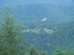 Ruines du château de Spesbourg - Français:   Château du Spesbourg (460 m) à Andlau depuis Barr (Bas-Rhin, France).