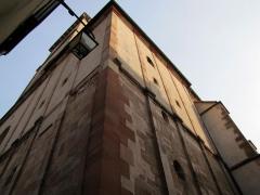 Eglise Saint-Pierre-et-Paul dite Sainte-Richarde -  Alsace, Bas-Rhin, Église Saints-Pierre-et-Paul dite Sainte-Richarde (PA00084587, IA00115010).  Angle de la façade ouest?