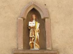 Eglise Saint-Pierre-et-Paul dite Sainte-Richarde -  Alsace, Bas-Rhin, Église Saints-Pierre-et-Paul dite Sainte-Richarde (PA00084587, IA00115010).  Statue de  Sainte-Odile sur la façade.